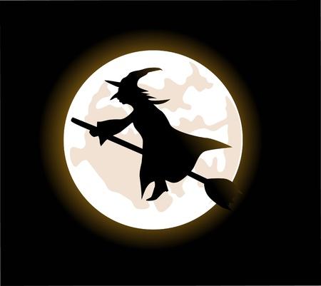 Een cartoon heks vliegen op een bezemsteel