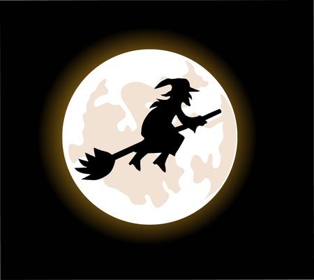 bruja: Una bruja de dibujos animados volar en una escoba