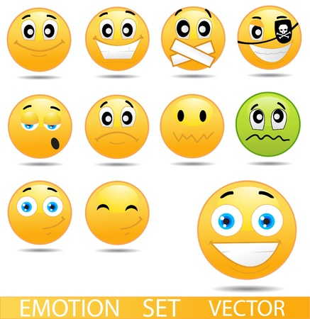 set shape: set of glossy Emoticons