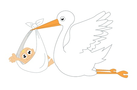 Stork and baby vector illustration   イラスト・ベクター素材