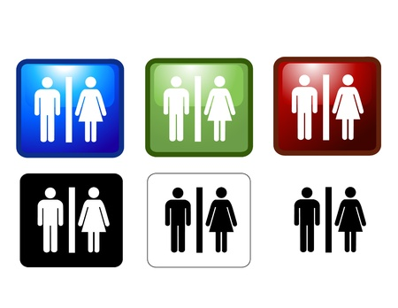 public restroom: vector illustration of Womens and Mens Toilets  Illustration