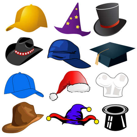 tophat: Various hats illustration clipart icons Illustration