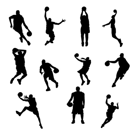 jumps: Basketball player illustration on white