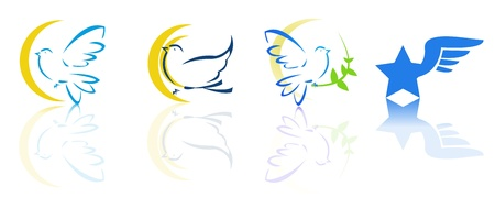 Dove and flying logos 일러스트