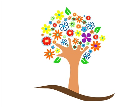 Colorful tree with flowers illustration