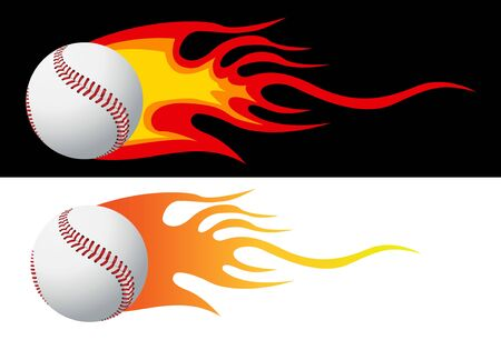 Baseball with flames vector photo