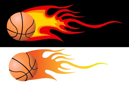 basketball ball on fire: Vector Flaming Basketball
