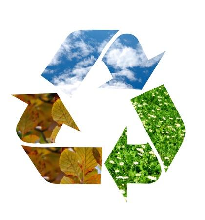 reciclar basura: El símbolo de reciclaje Foto de archivo