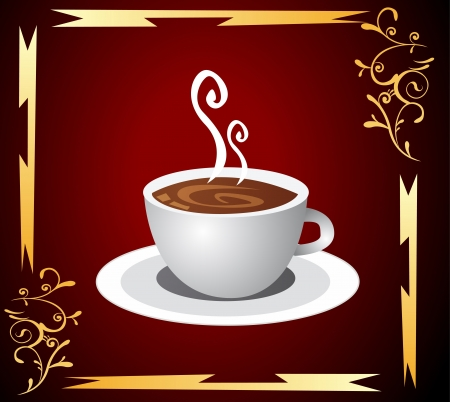Cup of coffee with abstract background Illustration