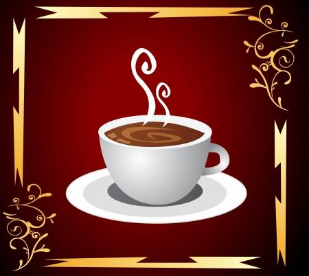 pausa: Taza de caf� con el fondo abstracto Vectores