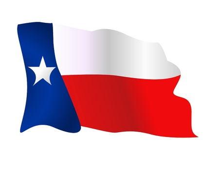 Flag of the State of Texas waving Stock Illustratie