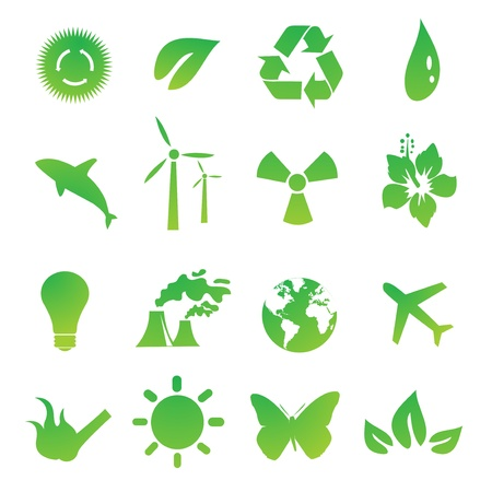 Set of green environmental vector icons Illustration