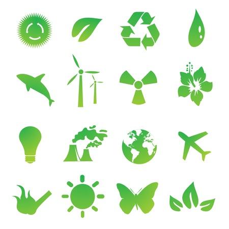 energy logo: Set of green environmental vector icons Illustration