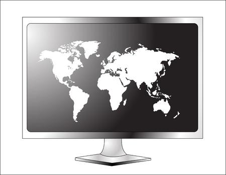 Plasma TV LCD avec la carte du monde Banque d'images - 14347944