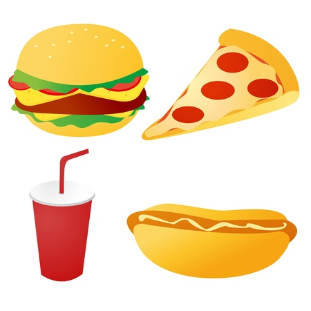 fast food set vector Vector