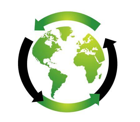 environment geography: World globe vector illustration