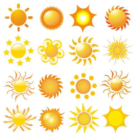 set of sun vector Illustration
