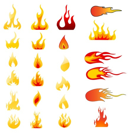 Fire Icons set Stock Vector - 14678754