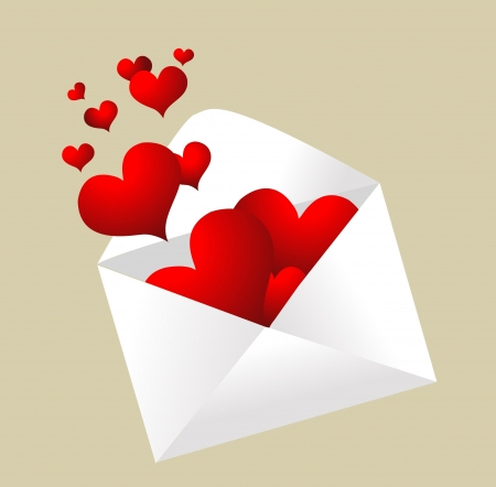 amour: Envelope with hearts popping out  Illustration