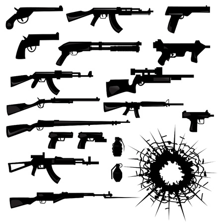 gun shot: collection of weapon silhouettes  Illustration