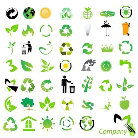 환경 / 재활용 아이콘 및 로고 세트 스톡 콘텐츠 - 15130036