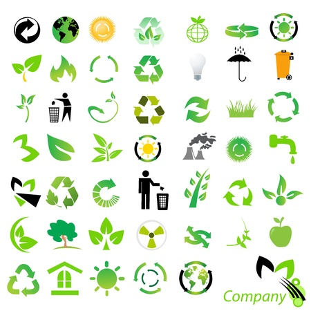 set of environmental  recycling icons and logos