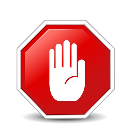 with stop sign: No entry hand sign on white background