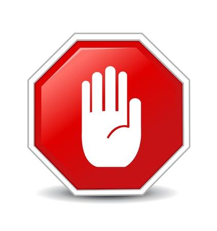 signos de precaucion: No muestra de la mano de entrada en el fondo blanco Vectores