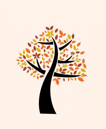 oak tree silhouette: autumn tree