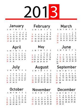 2013 calendar  Stock Vector - 16574672