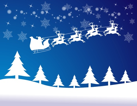 Silhouette Illustration of Flying Santa and Christmas Reindeer Stock Vector - 16574667
