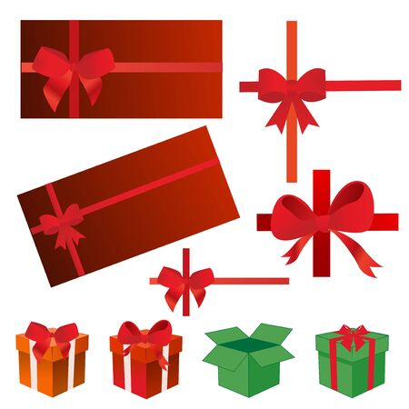 holiday greeting: bows, gift boxes, ribbons   Illustration