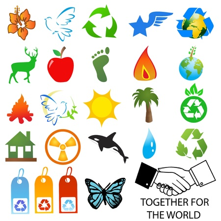 set of environmental  recycling icons and logos   Vector
