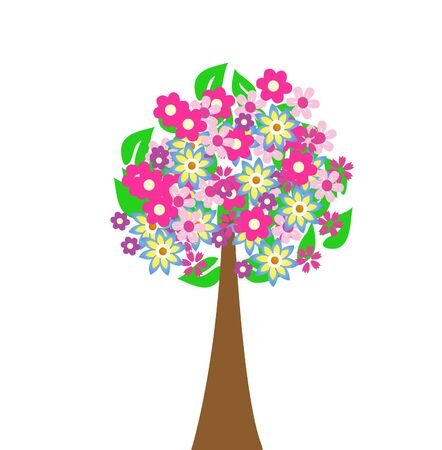 Abstract tree with flowers illustration Stock Vector - 17209222