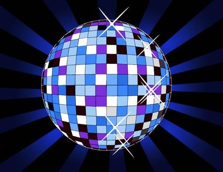 Mirror Ball: retro disco ball, illustration