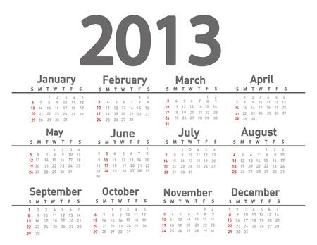 2013 calendar  Stock Vector - 18001656