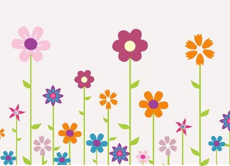 colorful spring flowers vector illustration  向量圖像