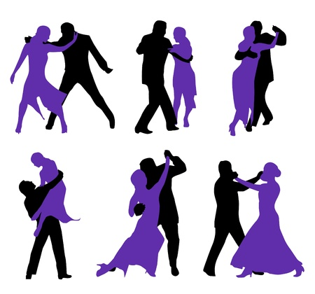 salsa dance: dancers isolated on white background