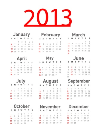 2013 calendar Stock Vector - 18143410