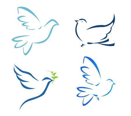 paloma: Ilustraci�n vectorial de vuelo de la paloma Vectores