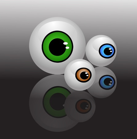 dilated pupils: eyeballs isolated vector Illustration