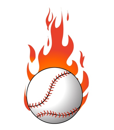 Baseball with flames Stock Vector - 18989290