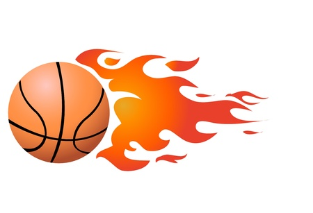 throwing ball: Vector Flaming Basketball Illustration