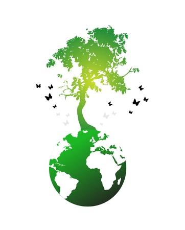Illustratie van de enorme boom op wereldbol