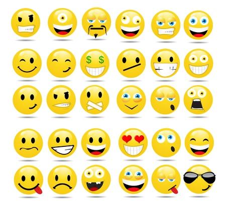 cara sonriente: Vector conjunto de emoticonos brillante Vectores