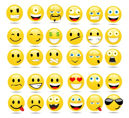 face: Vector set of glossy Emoticons