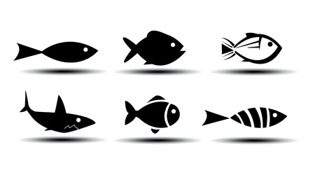Vissen Pictogrammen Stock Illustratie