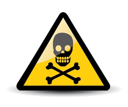 mortal danger: Warning sign with skull