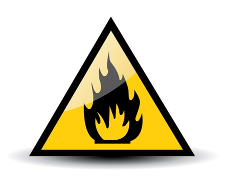 flammable materials: Fire warning sign on white Illustration