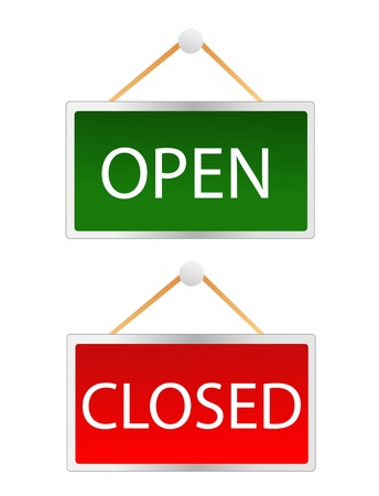 doorhandle: openclosed signs Illustration